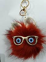 Красный брелок помпон с ушами для сумок и ключей, меховые брелоки оптом (12 см) 271