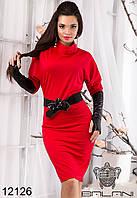 Женское, красное,модное, стильное, шикарное, короткое Платье  с  перчатками  -  12126 р-р S   M   L