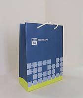 Бумажный пакет ламинированный 220*100*300 мм с ручками с ЛОГОТИПОМ