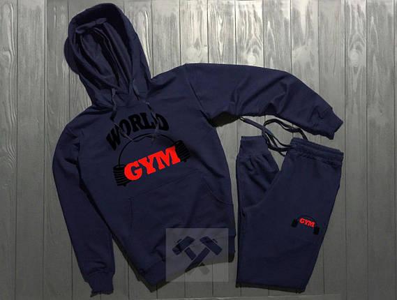 Весенний костюм спортивный World Gym с капюшоном топ реплика, фото 2