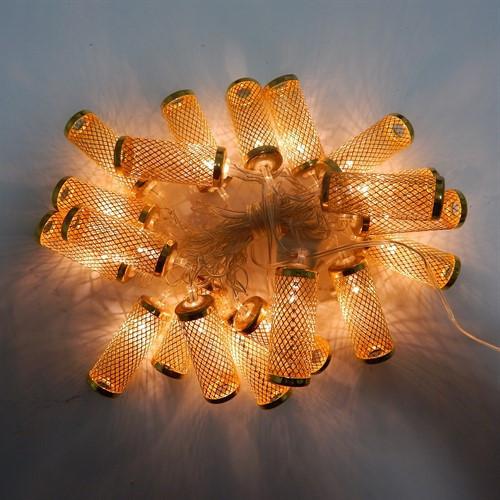 Новогодняя гирлянда с фигурками, цилиндр цвет золото 20LED