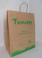 Пакет-крафт 330*160*420 мм коричневый с ручкой без печати.