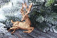 """Новогодняя подвеска """"Олень"""" 13 х 10,5 см цвета красное золото"""