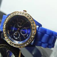 Женские часы GENEVA ЖЕНЕВА синие с камешками Сваровски