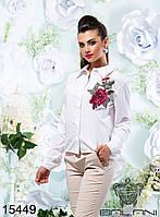 Женская, белая, модная, рубашка  с  длинным  рукавом  -  15449 р-р 42   44   46