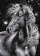 Алмазная мозаика Конь черный (28,5х41) полная