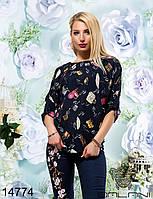 Женская, молодежная Блузка  принт  -  14774 р-р 42   44   46  женская одежда со скидкой, Украина