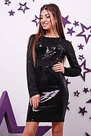 Коктейльное платье с пайеткой черного цвета арт 2950-90