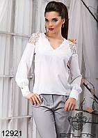 Женская блузка  с  кружевом  -  12921 р-р L   XL женская одежда от производителя , Украина