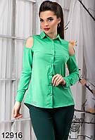 Женская салатовая блуза  с  открытыми  плечами  -  12916 женская одежда от производителя , Украина