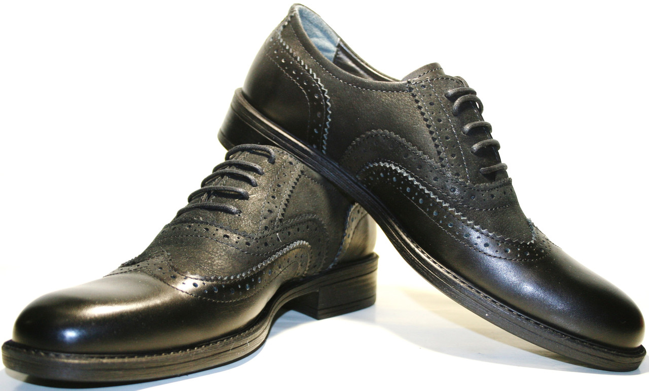 Туфли оксфорды мужские, кожаные, черные, броги Pandew, классика.