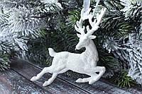 """Новогодняя подвеска """"Олень"""" 13 х 10,5 см белого цвета, фото 1"""
