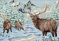 Набор для творчества Олени в зимнем лесу (28,5х41) полная