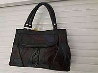 Хорошенькая сумка женская из кусочков натуральной кожи на три отдела по низкой цене