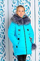 Куртка зимняя детская с меховым капюшоном