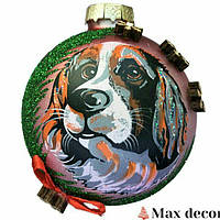 "Шар стеклянный ""Собака на празднике"" 65 мм."