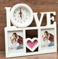 Фоторамка колаж Love з годинником 3 фото