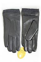 Мужские кожаные перчатки с вязкой по запястье руки