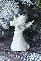 """Новогодняя подвеска """"Ангелочек"""" 8 см белого цвета, фото 1"""