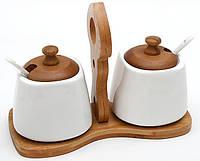 Набор: 2 сахарницы с ложками на бамбуковой подставке 275 мл
