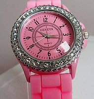 Женские часы Geneva Женева розовые с камешками Luxury(Люксури)