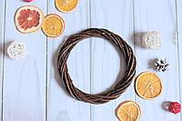 Вінок з лози плетений коричневого кольору, 25 см, фото 1
