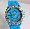 Женские часы Geneva Женева голубые с камешками Luxury(Люксури)