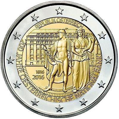 2 евро 2016 Австрия - 200 лет национальному банку Австрии. UNC/aUNC
