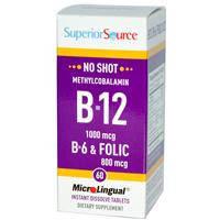 Витамин В 12,  Superior Source, Метилкаболамин 1000 mcg, витамин В 6 и фолиевая кислота 800 mcg,  60 таблеток