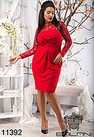 Женское платье, модное стильное  с  гипюром  -  11392  рр 48 50 52 54