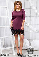 Стильное стильное платье с кружевом - 18497    рр 48 50 52 54 женская одежда от производителя.