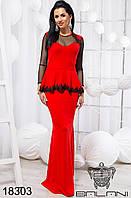 Женское красное элегантное платье в пол - 18303 р-р 42 44  46 женская одежда  от производителя