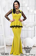 Женское длинное желтое элегантное платье в пол - 18305 р-р 42   44   46 женская одежда  от производи