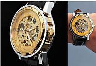 Мужские часы Winner Золотые Skeleton (Скелетон) МЕХАНИКА