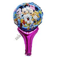Фольгированные воздушные шары, форма: фигура круг на палочке, Диснеевские персонажи,  диаметр: 27 см, длина: 4