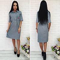 Платье миди с вышивкой, красивое женское платье средней длины. разные цвета и размеры. Ткань - лён.