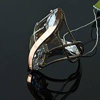 Женское серебряное кольцо Дуос с золотой вставкой, фото 1