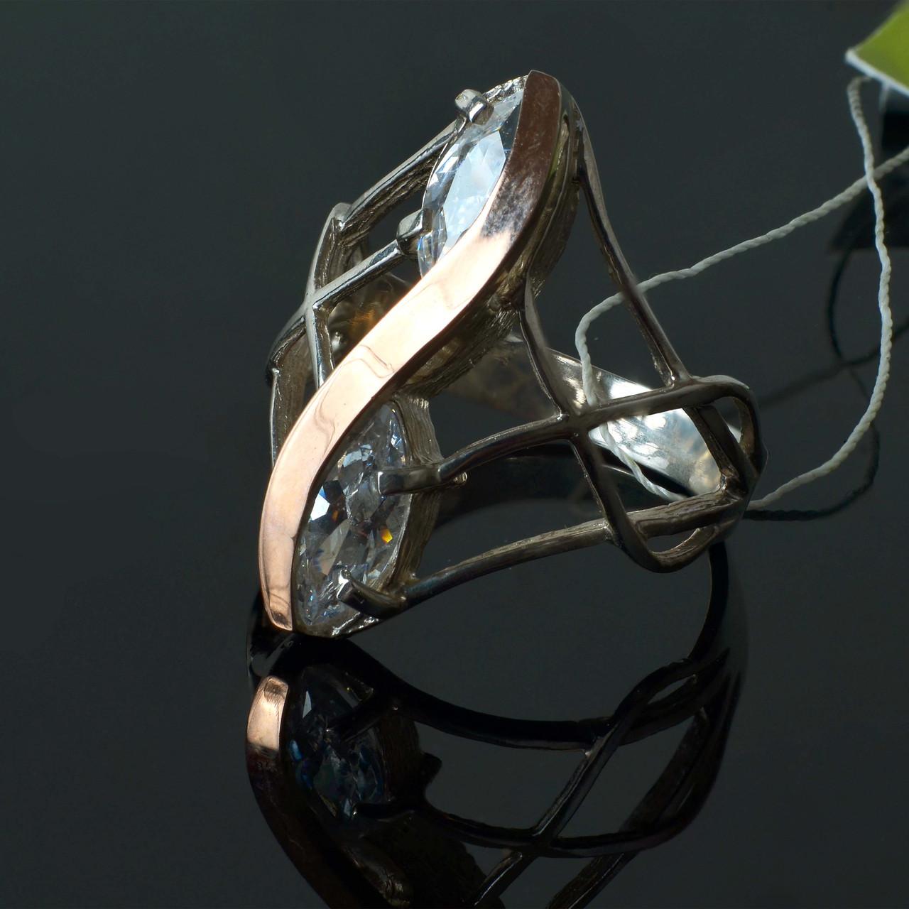 Женское серебряное кольцо Дуос с золотой вставкой