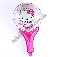 Фольгированные воздушные шары, форма: фигура круг на палочке, Hello Kittie Кити,  диаметр: 27 см, длина: 46 см