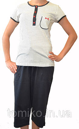 Пижама хлопковая с капри, фото 2