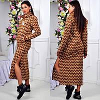 Женское тёплое платье средней длины, платье ниже колен. Размер единый 42-46. Цвет на фото., фото 1