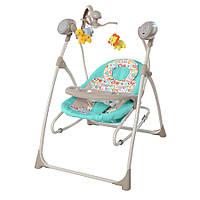 Детская колыбель-качеля, кресло- качалка с пультом (бирюза)