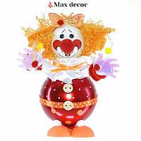 """Формовая стеклянная игрушка с декором """"Клоун с шариками"""" высота 18 см"""
