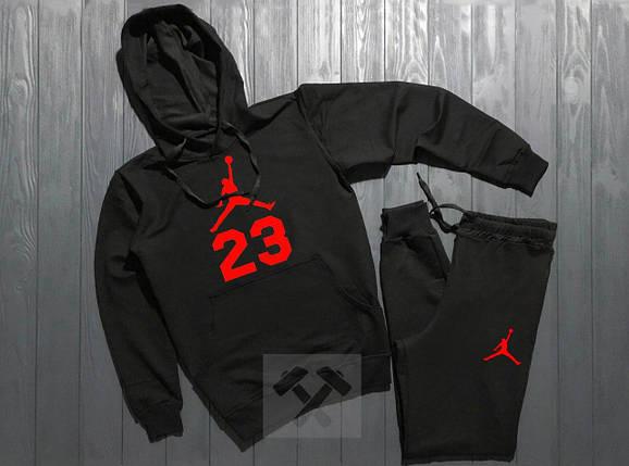 Весенний костюм спортивный Jordan с капюшоном черный топ реплика, фото 2