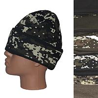 Мужская вязаная шапка на флисе S1 оптом в Одессе.