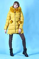 ПУХОВИК теплый молодежный горчичный (желтый) зима 2018