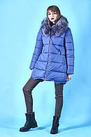 ПУХОВИК теплый молодежный цвет джинсовый зима 2018
