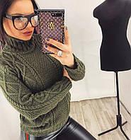 Женский свитер вязанный с широким горлом орнамент  НОВИНКА   цвет  Хаки