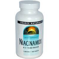 Витамин В3, Source Naturals, Ниацинамид, 1500 мг, 100 таблеток