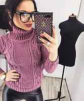 Женский свитер вязанный с широким горлом орнамент  НОВИНКА   цвет  Лиловый